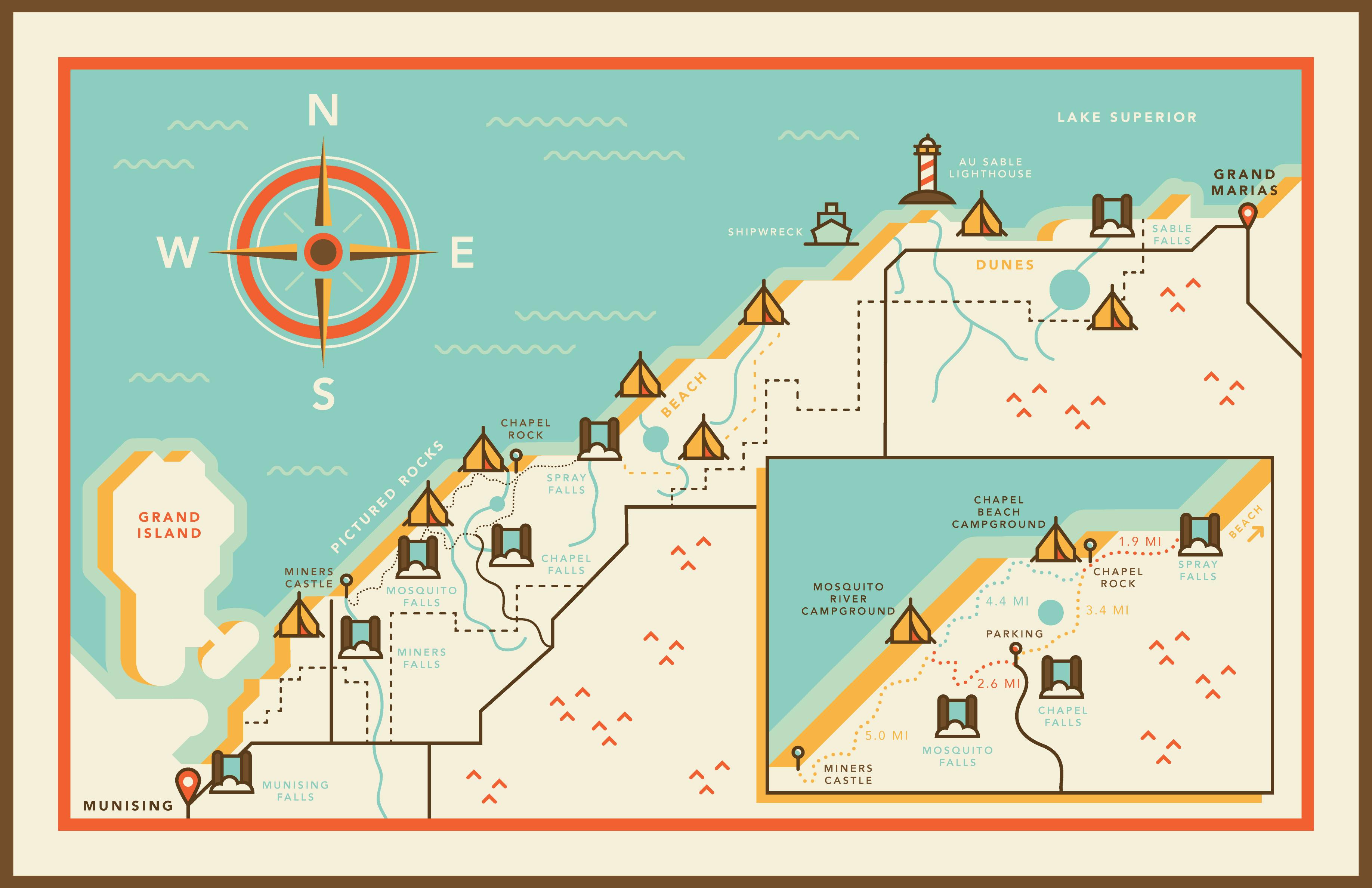 Picture Rocks Michigan Map.Jen Harley Blog Adventure Maps